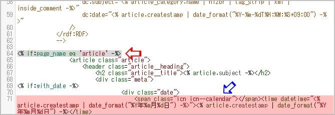 個別記事の日付部分のHTML