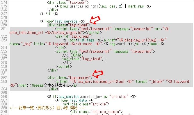 タグクラウドとタグサーチ部分のHTML