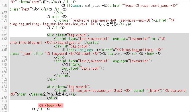 コードを移動した後のHTML