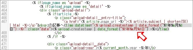 画像一覧ページの日付部分のHTML