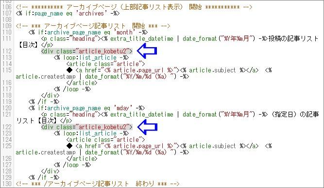 アーカイブページに記事リストを作る場合のHTMコード