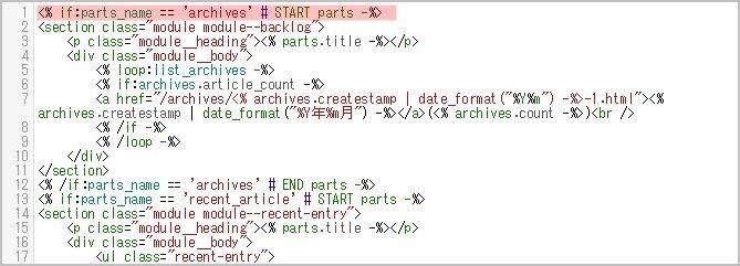 コンテンツHTMLの編集箇所