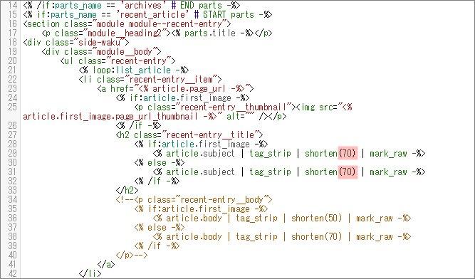 文字数を変更した後のコンテンツHTML