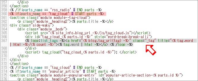 コンテンツHTMLのタグクラウド部分