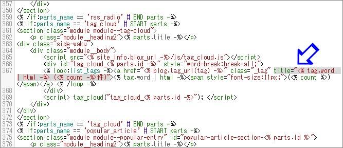 コードを編集した後のコンテンツHTML