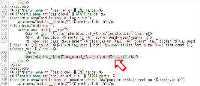 編集前のタグクラウド部分のコード