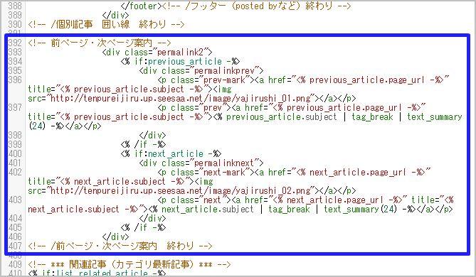 編集後のHTMLコード