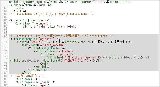 コード編集後のカテゴリページの記事リスト部分のHTML