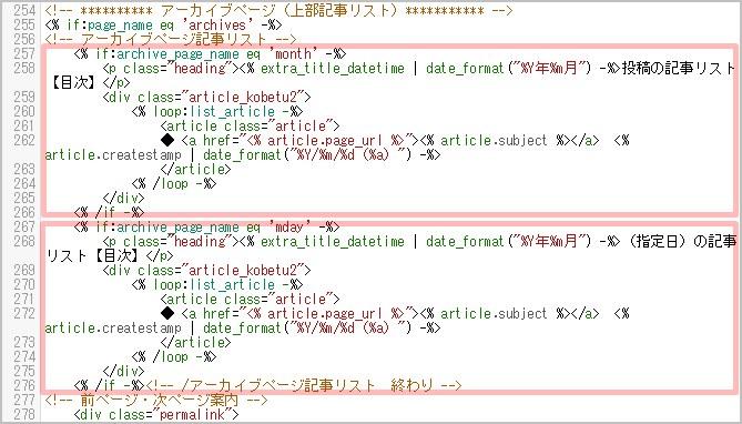 過去ログページの編集するHTMLコード